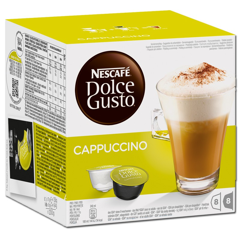 dolce gusto cappuccino nescafe kaffee 16 kapseln kaffee kaffeepads und kaffeekapseln nescafe. Black Bedroom Furniture Sets. Home Design Ideas