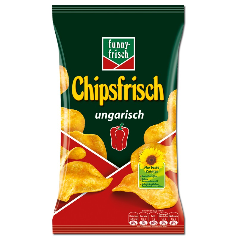 Funny Frisch Chipsfrisch ungarisch 175g, 10 Beutel Knabberartikel ...