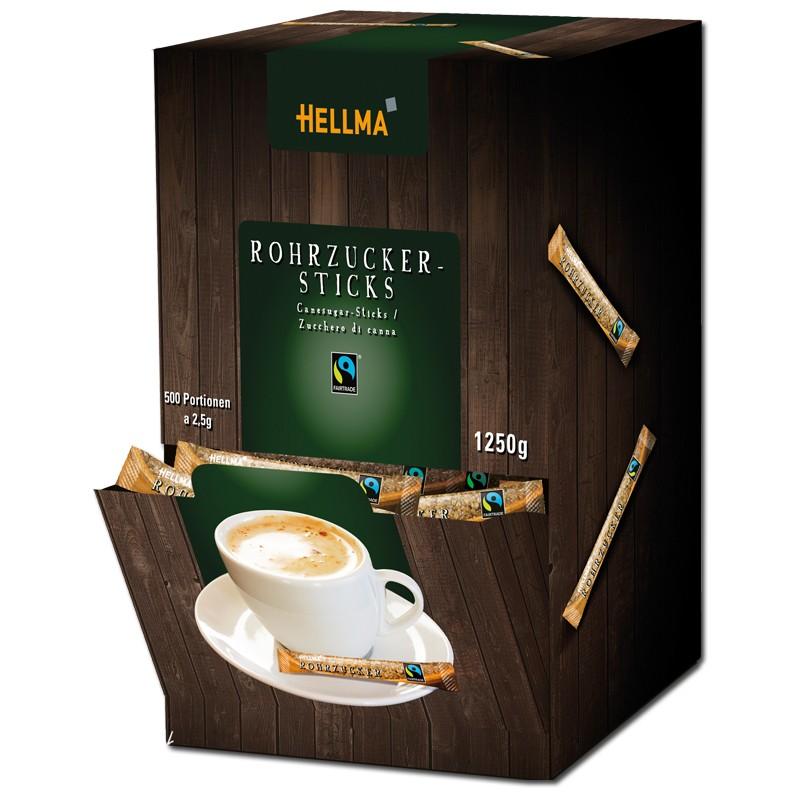 Hellma Fairtrade Rohrzucker Sticks, 500 Stück Kaffee zu ...